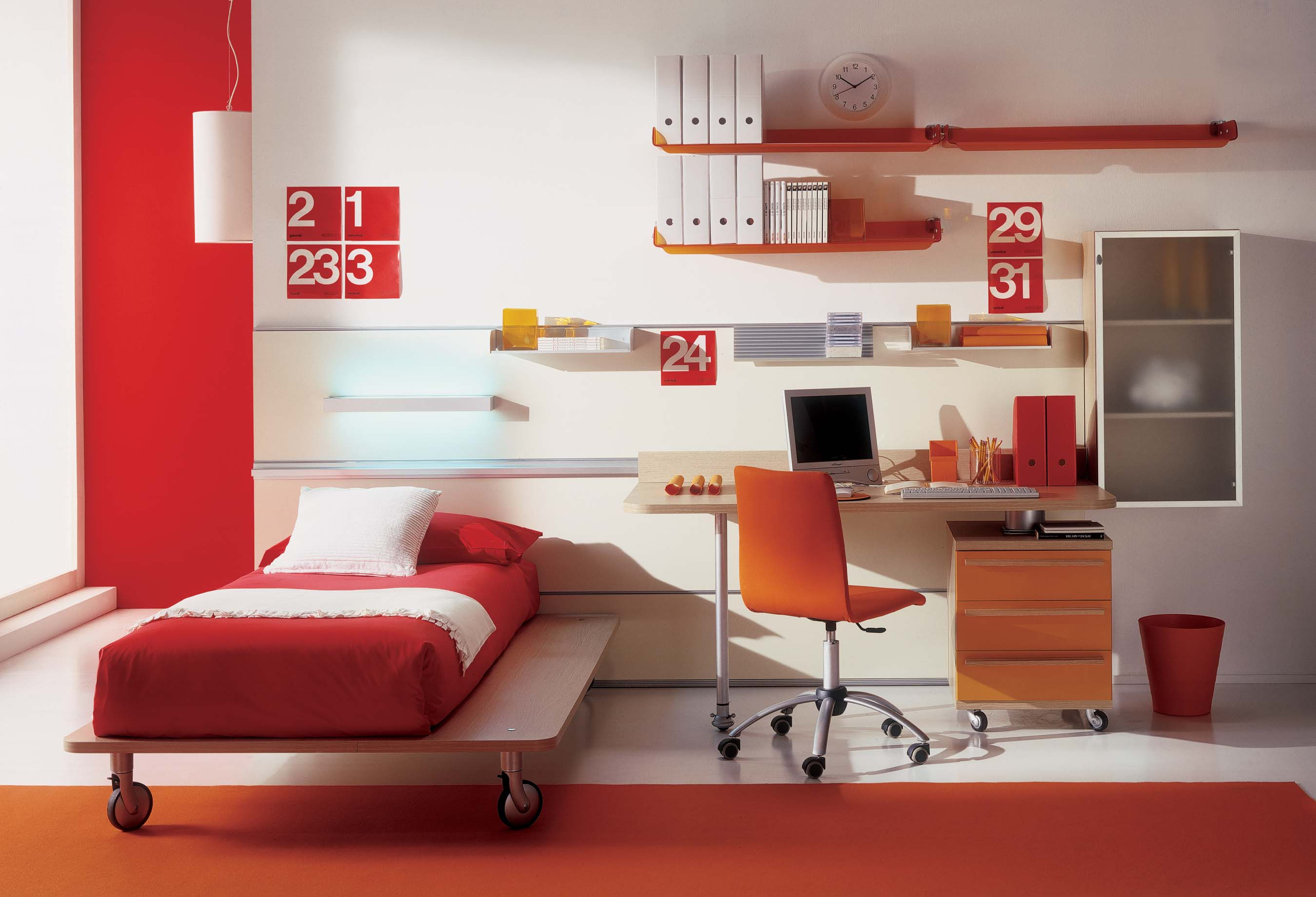 Modern Kids Room in Red - Kids rooms